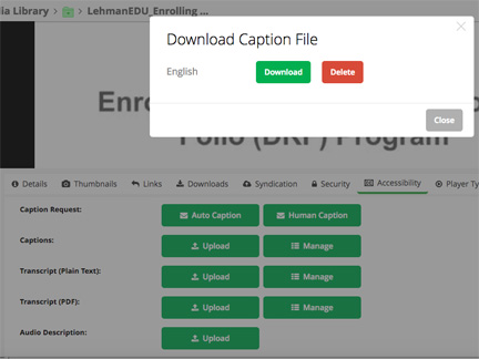 Download SRT file (Caption file)