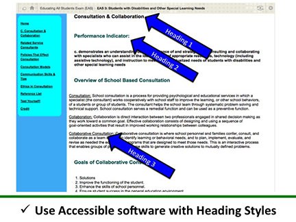 Use Accessible software with Heading Styles