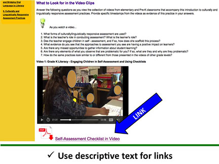 Use descriptive text for links