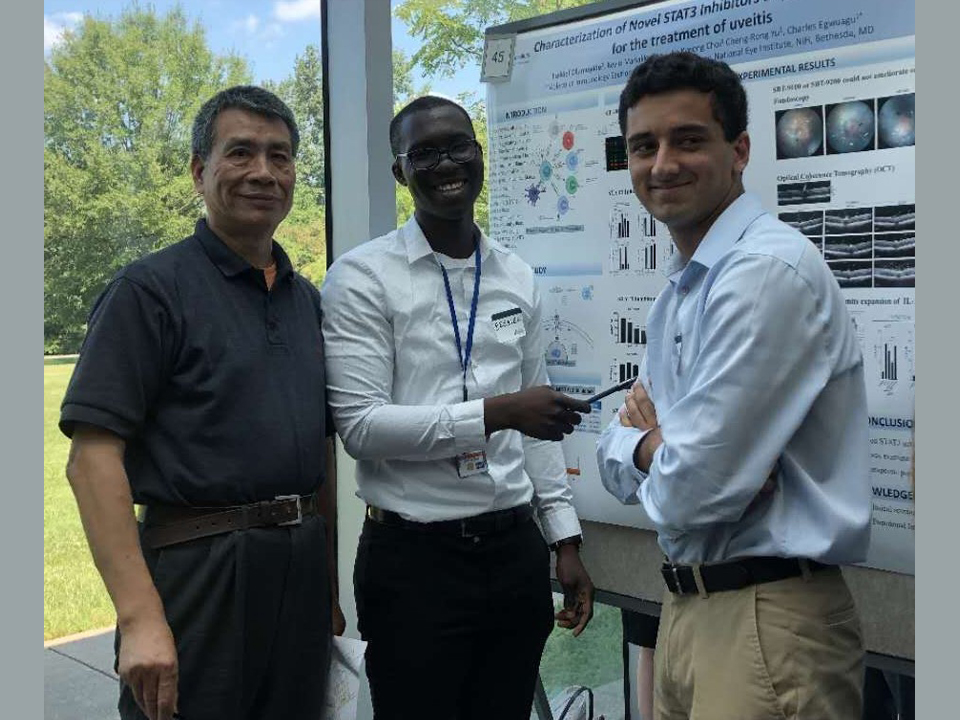 Ezekiel Olumuyide, pictured center, has joined several Lehman College professors as a research study assistant.