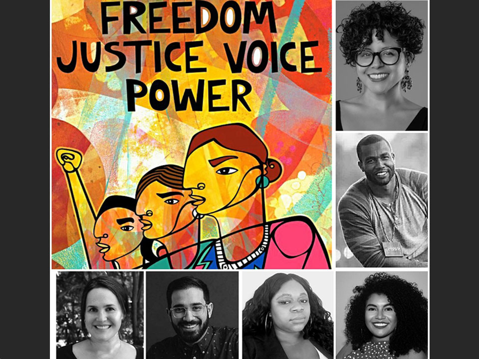 Oakland artist/activist Favianna Rodriguez, top right along with her social justice poster Freedom. Justice. Voice. Power., is one of six designers slated for the new Turnbull Speaker Series.